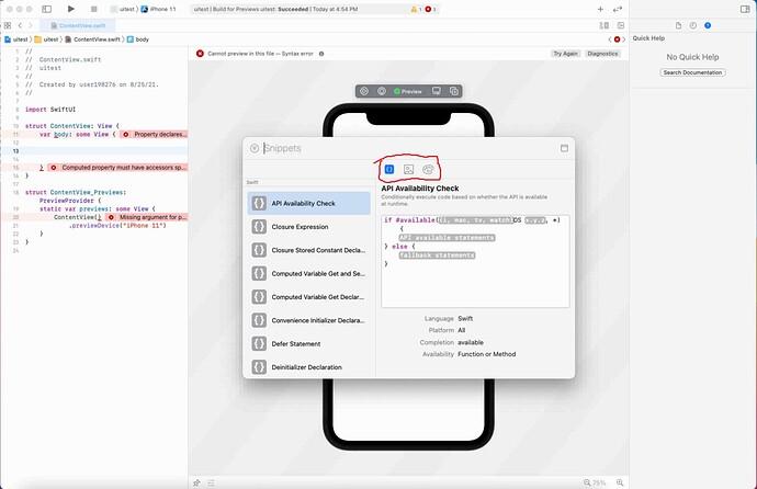 XCode-broken-library-panel-missing-views-2021-08-25